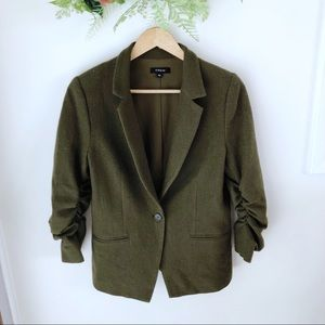 DREW Wool Army Green Ruched 3/4 Sleeve Blazer